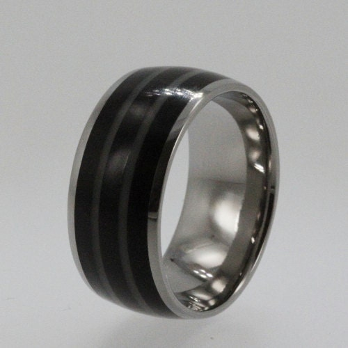 African Bands: Titanium Ring Inlaid African Black Wood And By Jewelrybyjohan