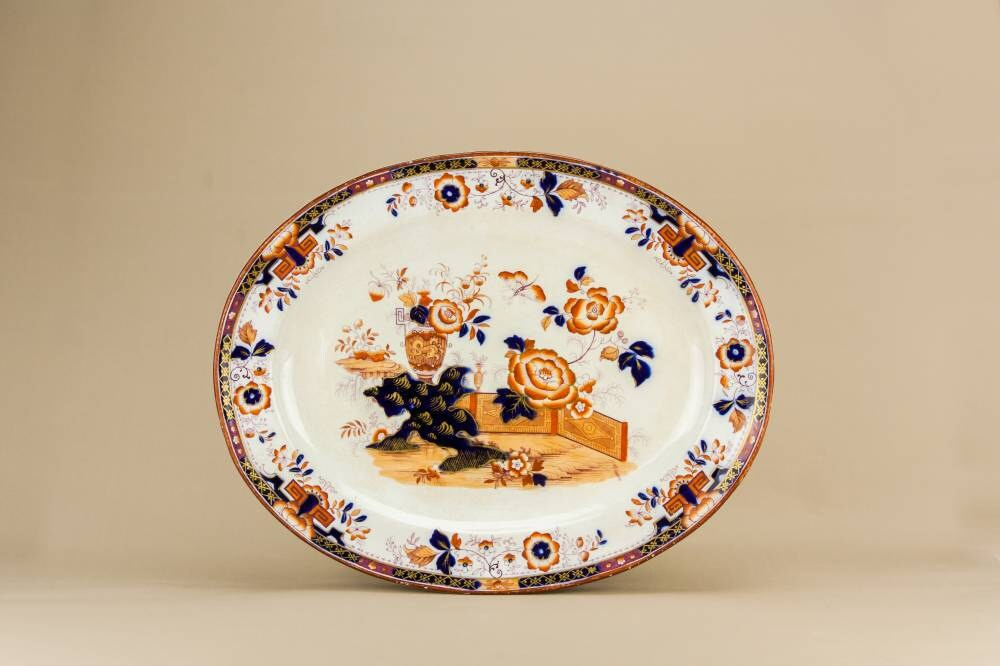Opulent Antique Floral Large Dish Serving PLATTER High Victorian Blue And White Pottery Mid 19th Century English LS