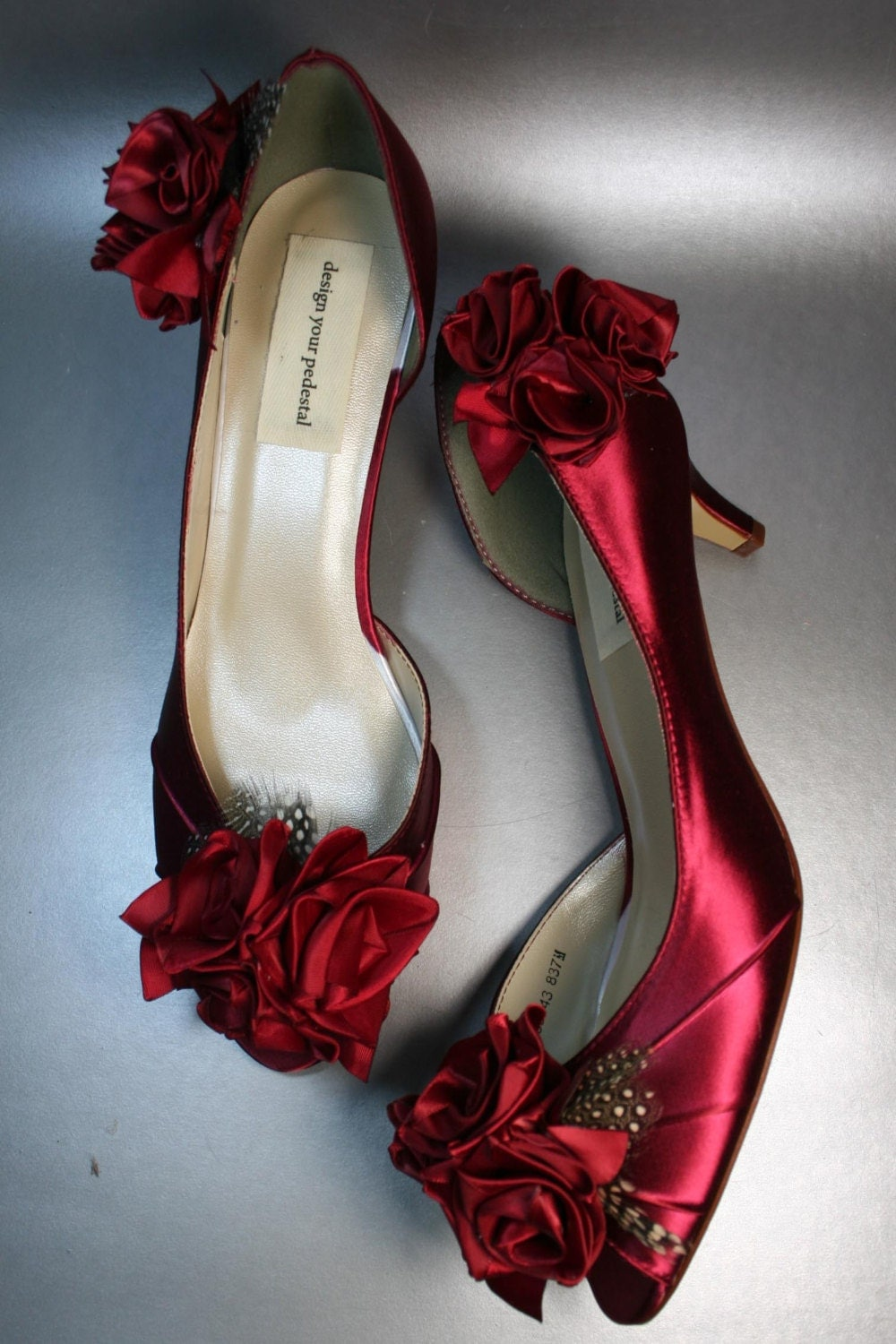 Wedding Shoes -- Scarlet Red Peeptoes with Red Roses on Heel and Toe with Polka Dot Feather Accents