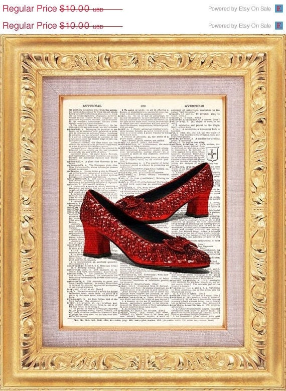 Ruby Red Slippers Vintage Print vintage dictionary book page art print beautifully UpCycled 8x10
