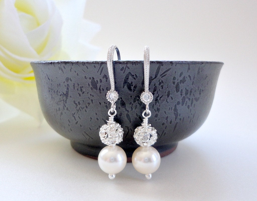 Wedding pearl earrings with crystal fireballs, Pearl rhinestone earrings in silver
