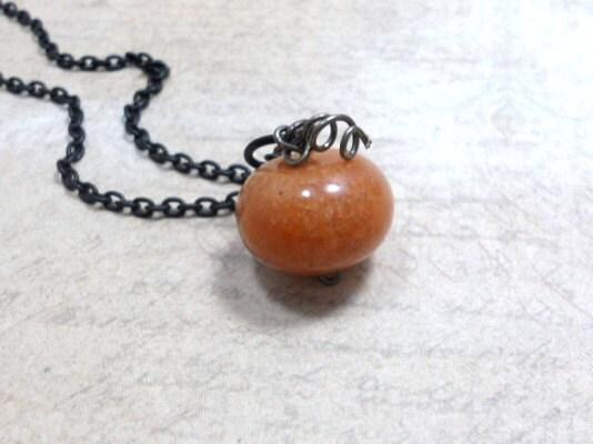 Adventurine Gemstone Necklace Black Brass Chain, Fall necklace - TrudyAnnDesigns