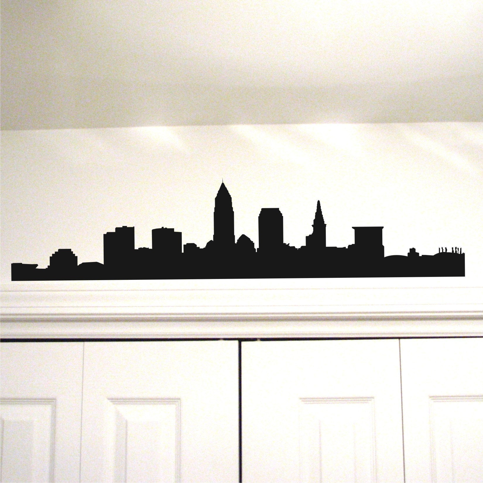 Items similar to cleveland skyline vinyl wall art decal 11 for Silhouette wall art