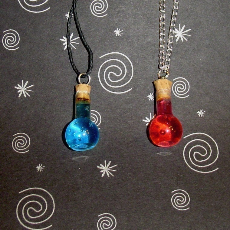 sale pair of health and mana potion necklaces by yellercrakka