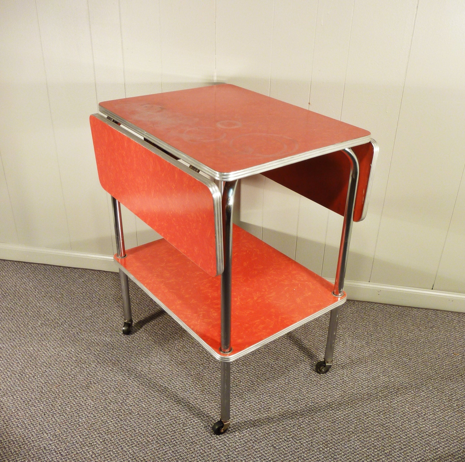 Cosco Chippy Red Metal Kitchen Cart Movable Painted Vintage: Red Formica 50s Kitchen Cart Movable Drop Leaf By Gillardgurl