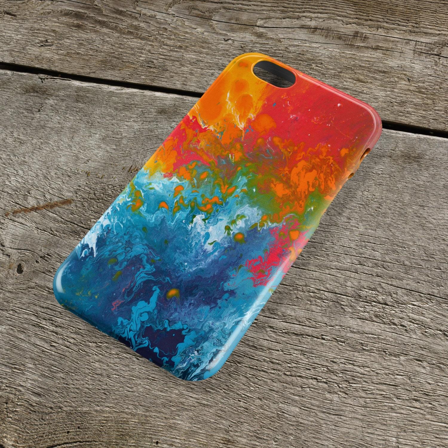 Incalescence Orange  Teal iPhone Case  Orange Turquoise and Blue Art Case for iPhones iP4 iP5SSE iP5C iP6S iP6S iPod Touch 5