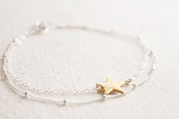 Layered Star Bracelet - dainty twinkle charm double strands everyday jewelry by petitor