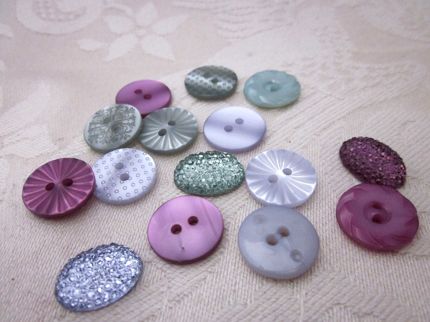 green and purple pearly button mix by overspill on etsy. Black Bedroom Furniture Sets. Home Design Ideas