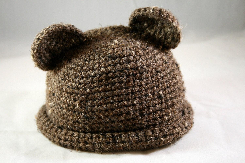 baby bear hat cap bear ears photo prop winter warm brown spice nutmeg walnut girl and boy