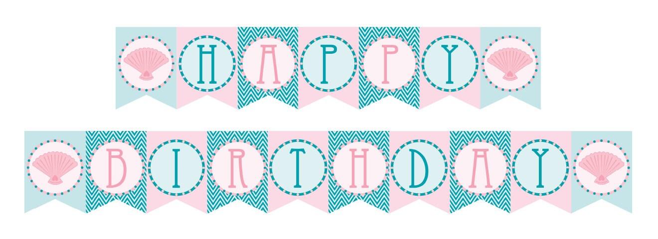 Printable Vintage Birthday Banner ~ Diy printable vintage mermaid birthday banner instant