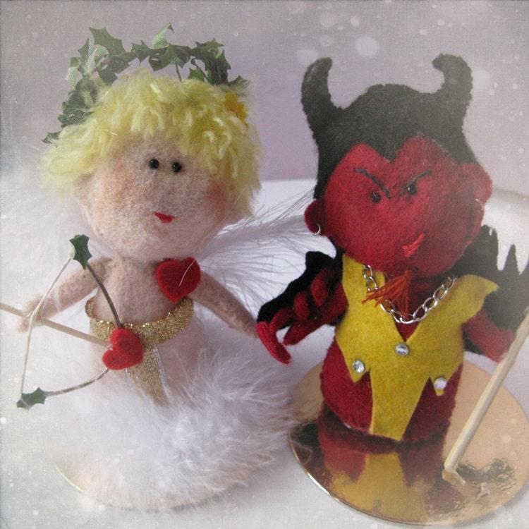 Custom Wedding Cake Topper Angel And Devil Bride And Groom Handmade