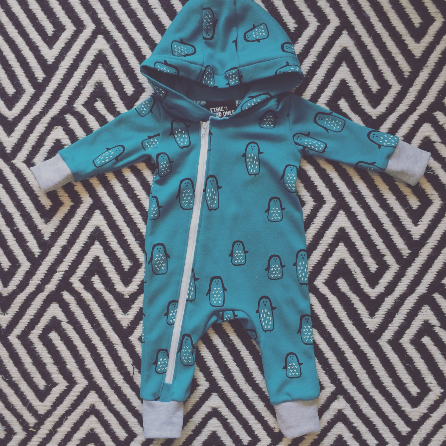 Penguin print romper handprinted unisex allinone boys girls stylish baby and kids clothing