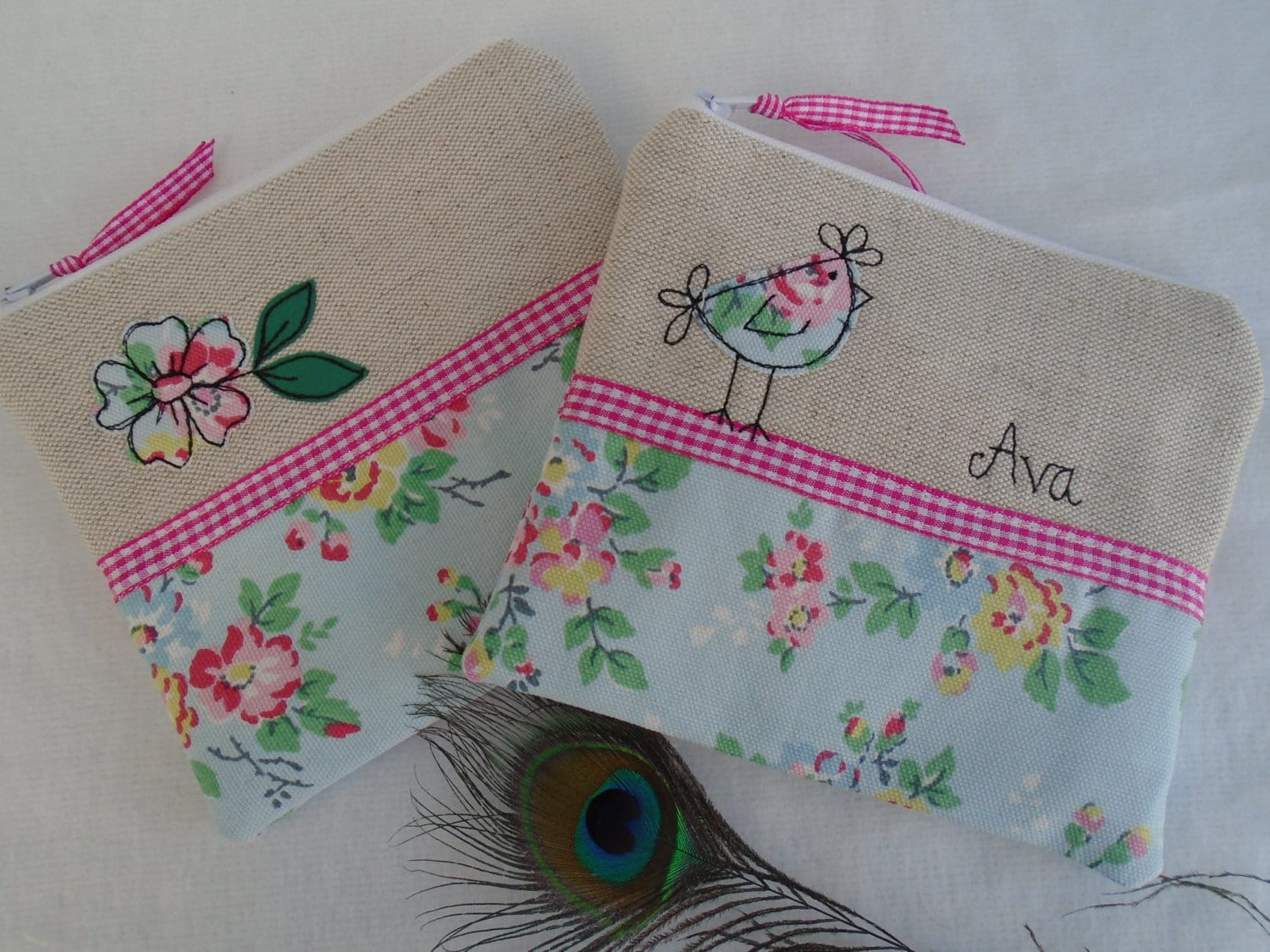 Handmade Cosmetic Makeup Bag or Large Purse with option to personalise Choice of Hen or Flower Applique Cath Kidston Blue Floral fabric