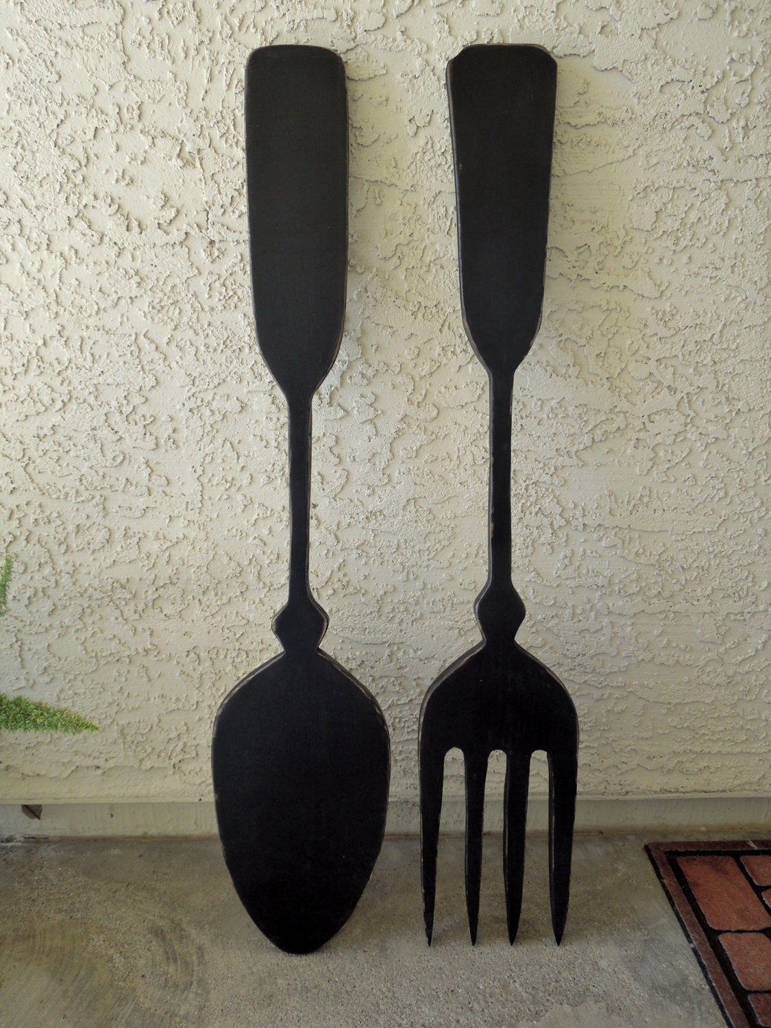 Items Similar To Large Fork And Spoon Kitchen Wall Decor