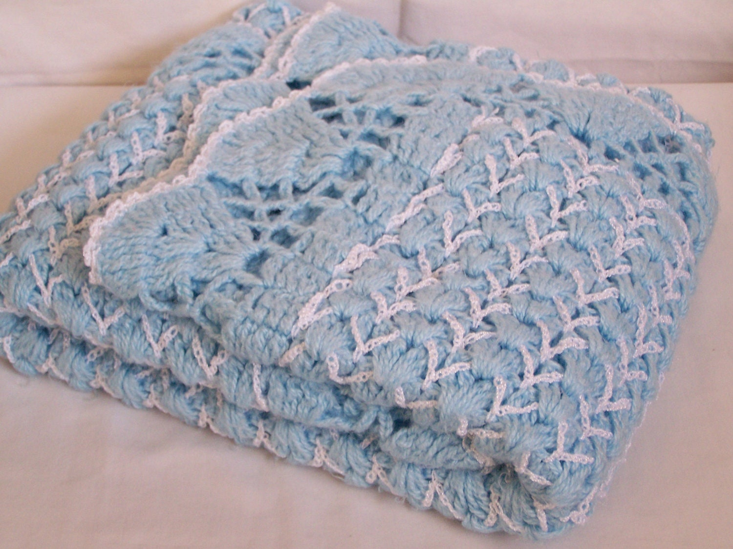 Pretty Vintage Crochet Baby Blanket Blue & White Gorgeous - RetroMemories