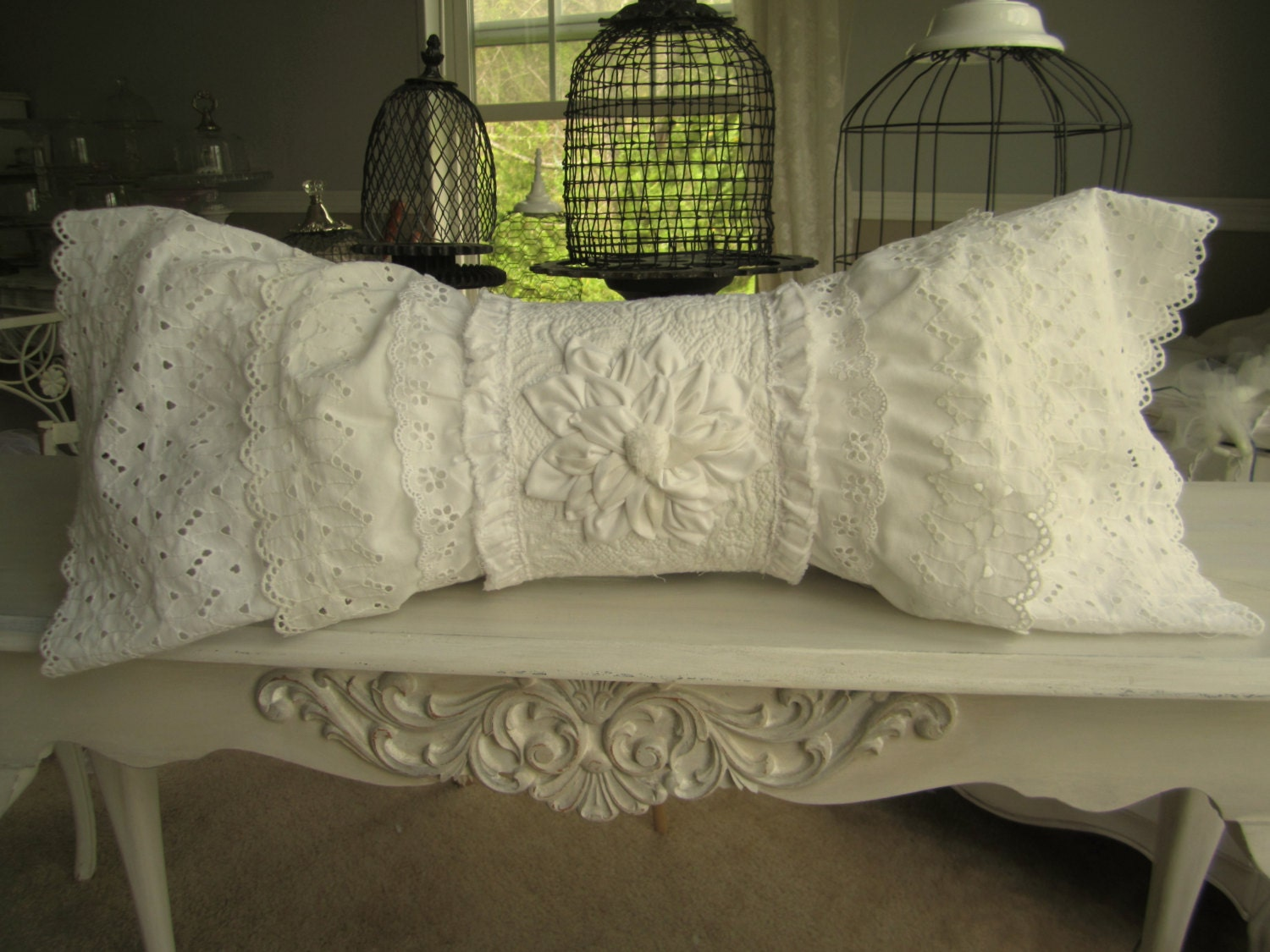 Popular items for Eyelet lace pillow on Etsy