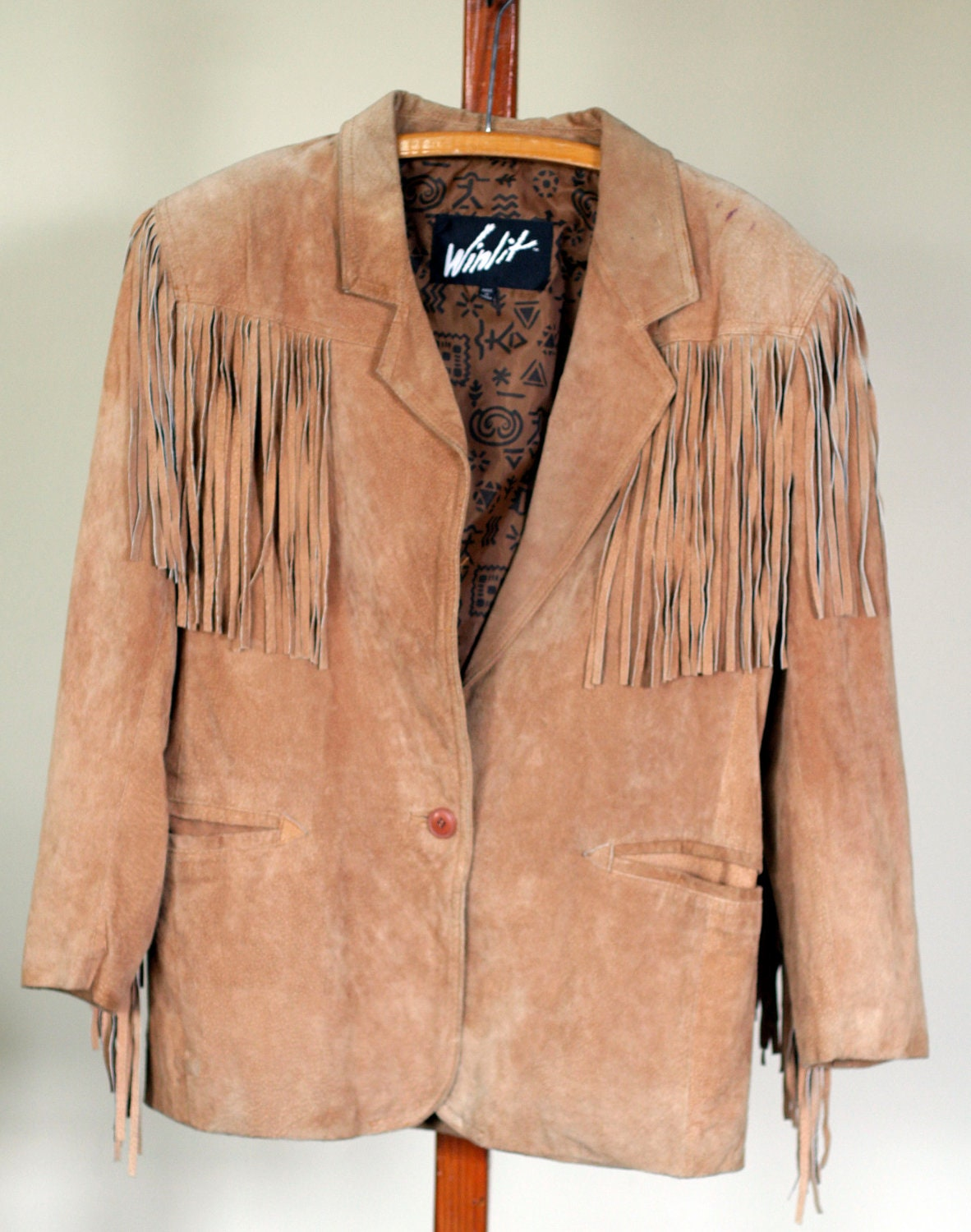 vintage womens suede fringe jacket by winlet by TomTomVintage
