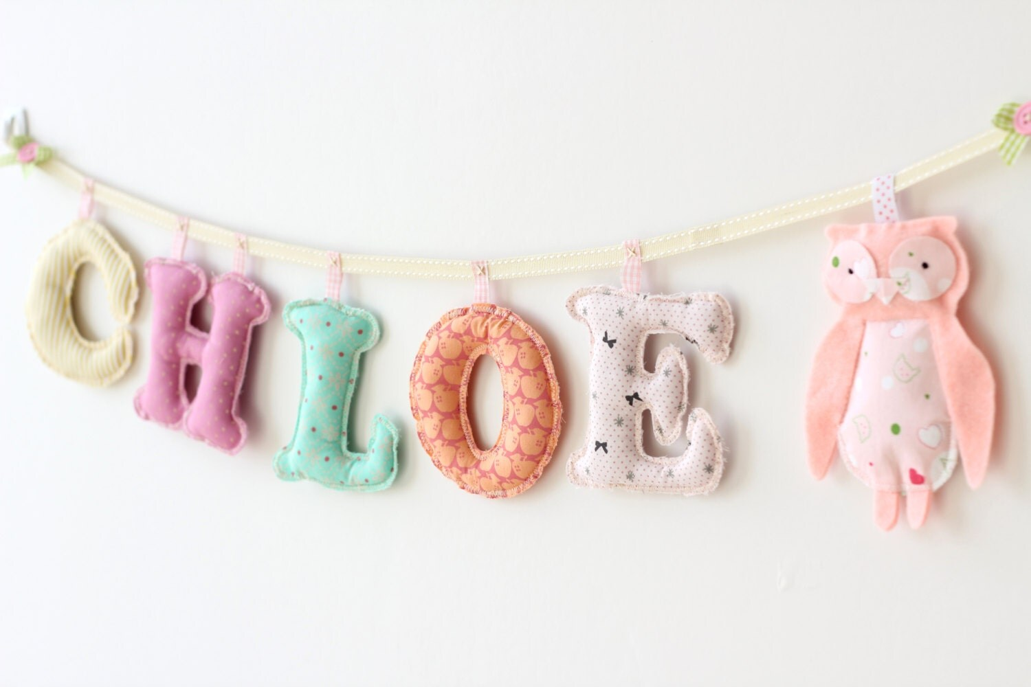 5 letters and felt Doll ornament - pastel girl's room name banner / Handmade Happy Colors Girl Room Decor / Made To Order Children Banner - MerrybellDecor