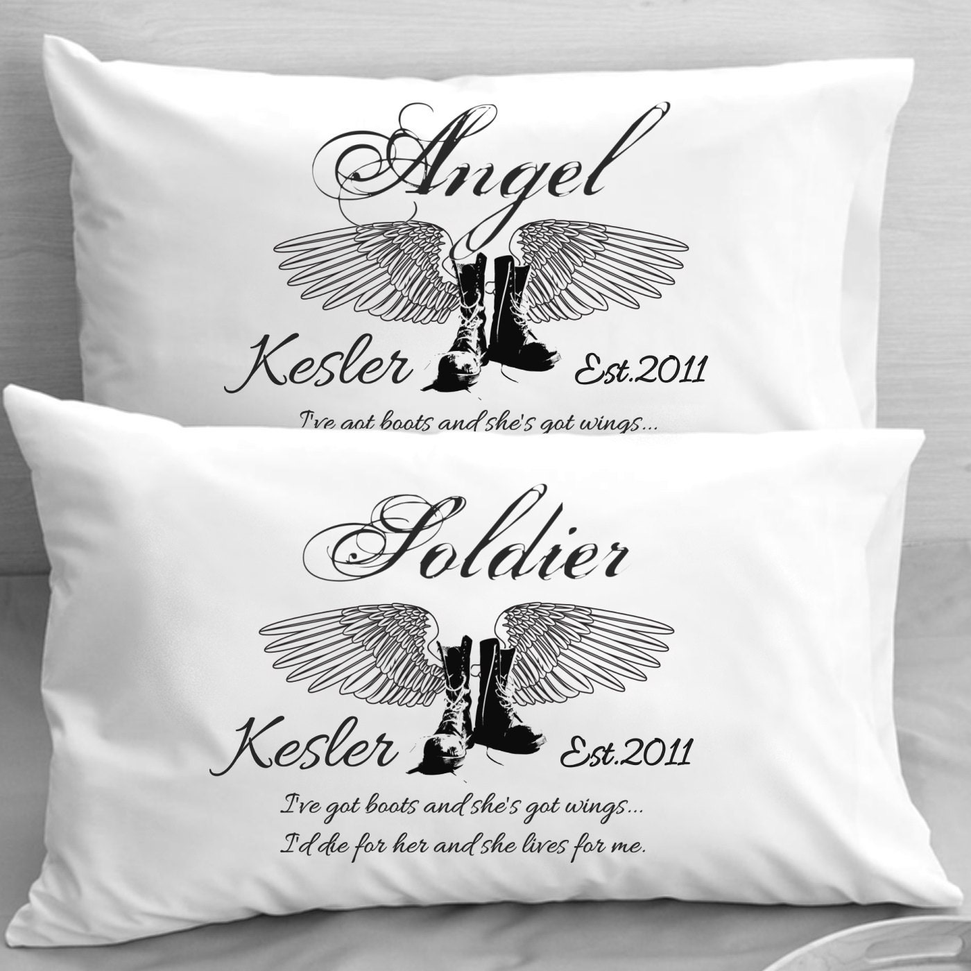 Wedding Gift Ideas For Military Couples : Angel Military Couple Personalized Pillowcases Boots and Wings Wedding ...