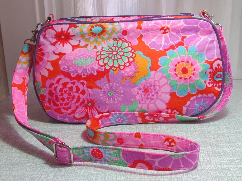 kaffe fassett asian circles print handbag with detachable strap floral clutch bag UK seller