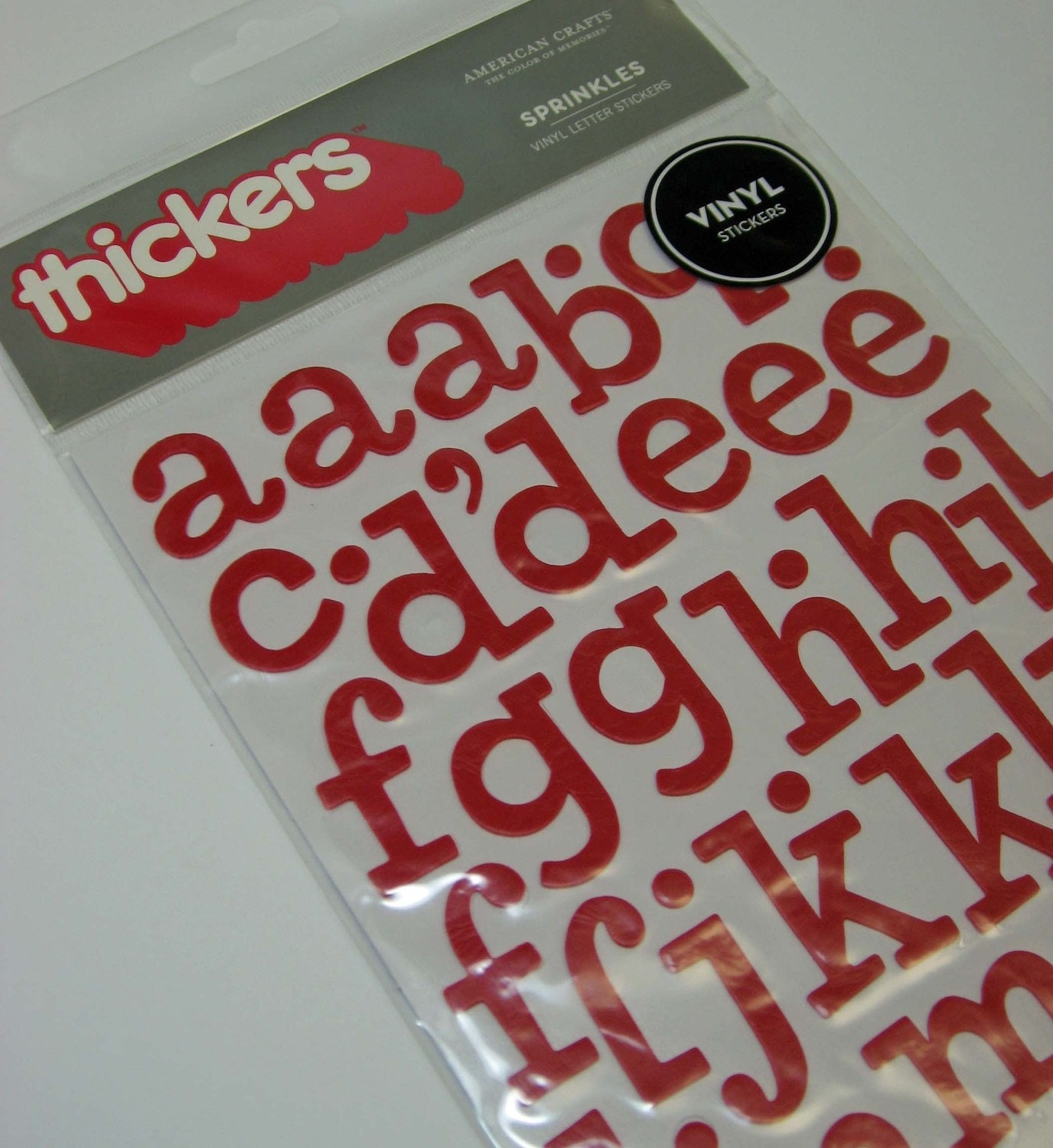 sprinkles thickers in red vinyl letter stickers by booksbyjme