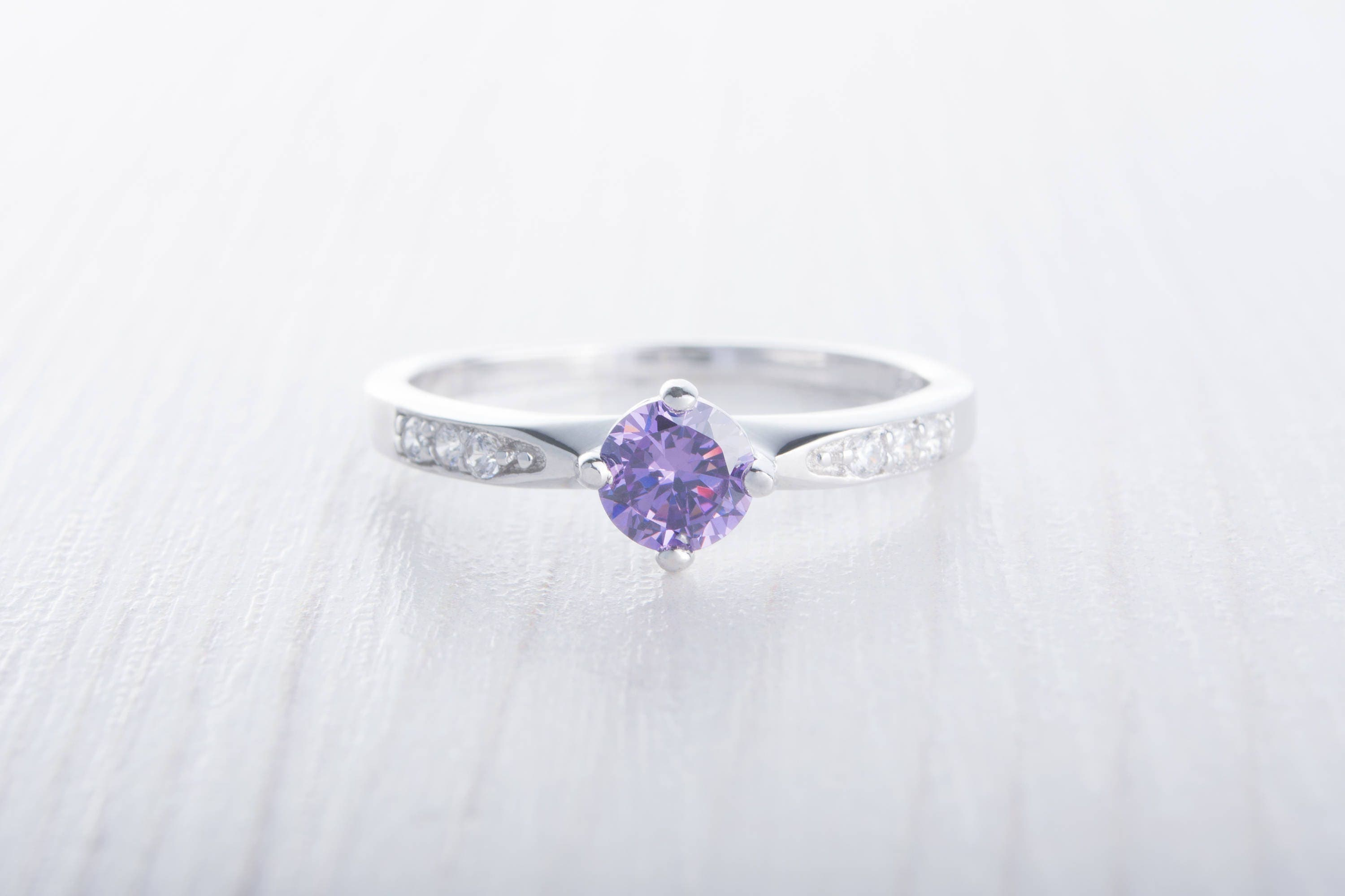 Natural Amethyst Solitaire engagement ring  Available in White gold and Sterling Silver  handmade