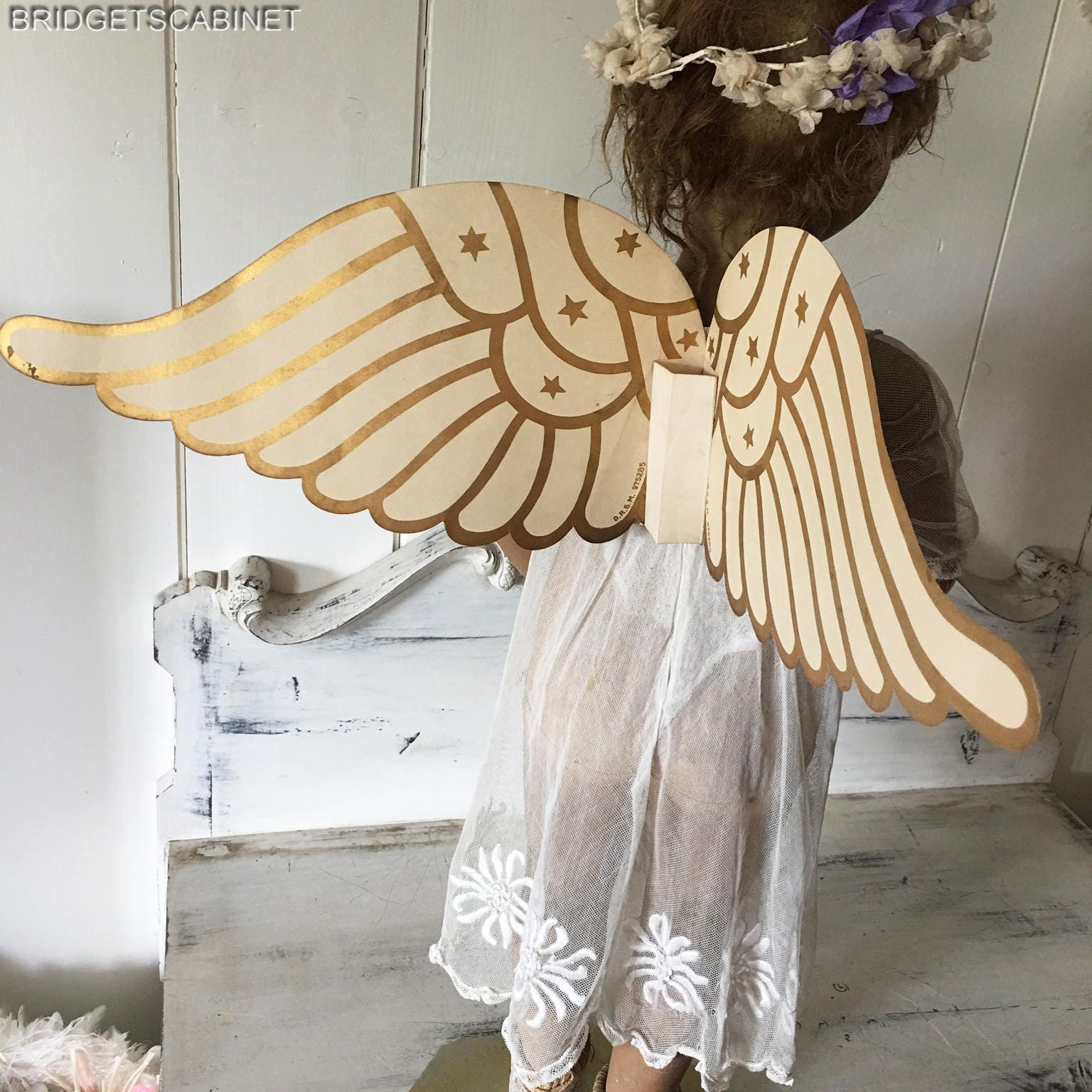 Pair of Old French Vintage Paper Cardboard Procession Child Angel Wings Doll
