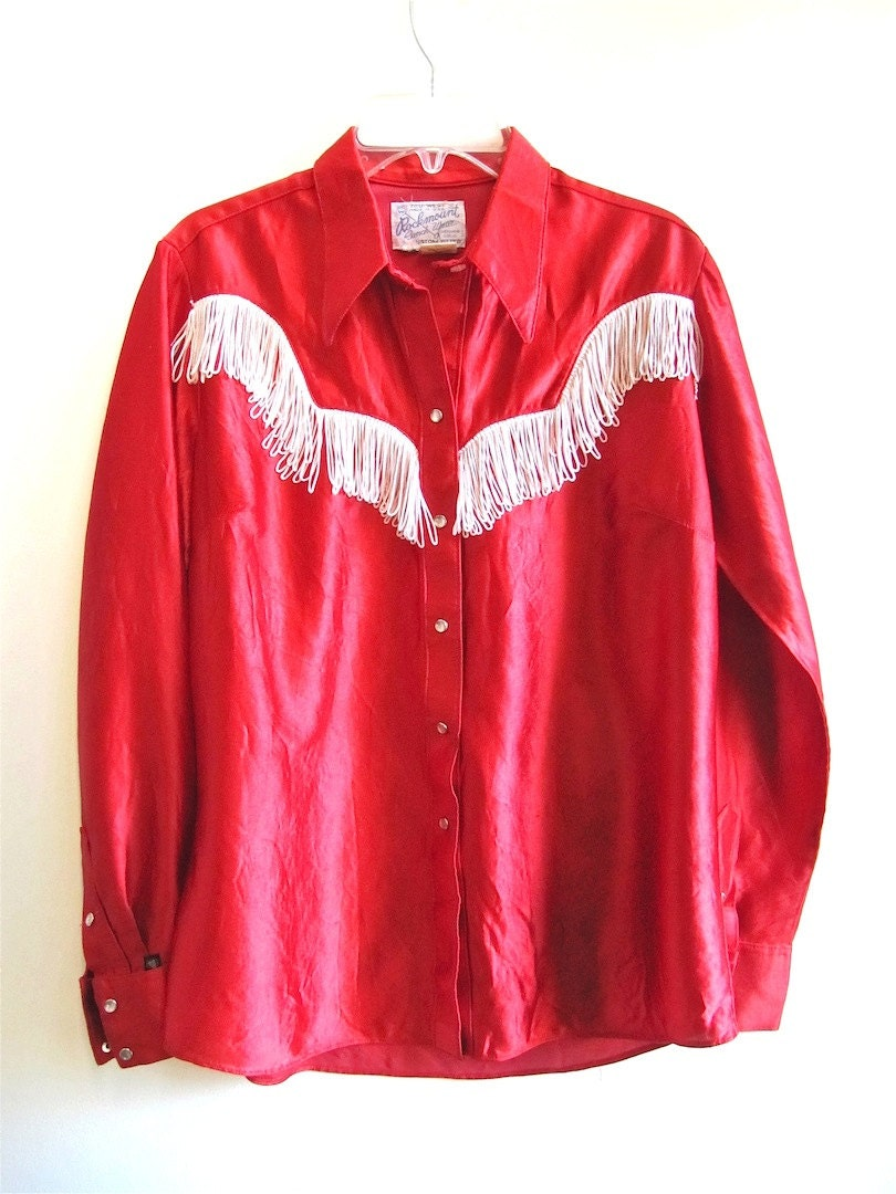 Rockmount Red Western Shirt With Fringe By Worldvintagefashion