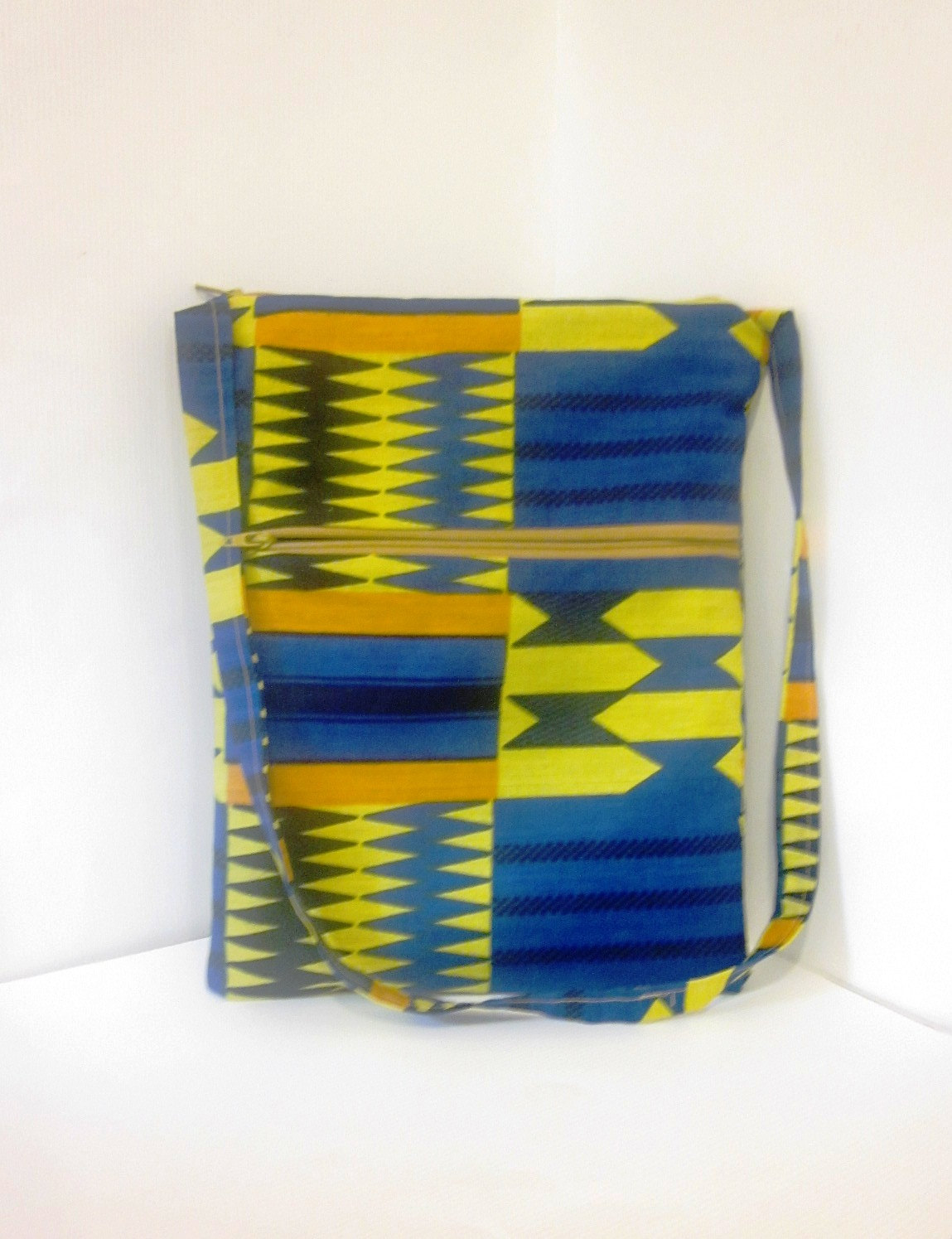 Multi Pocket Zipper Purse Tote Bag African Tribal Pattern in Blue and Gold - handjstarcreations