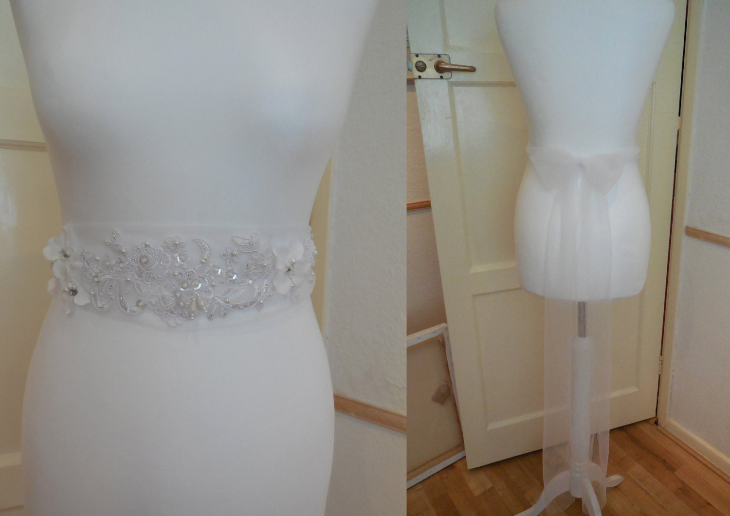 A White Jeweled beads Lace floral bridal wedding gown soft tulle sash belt with ready made bow brooch pin at back is for sale.