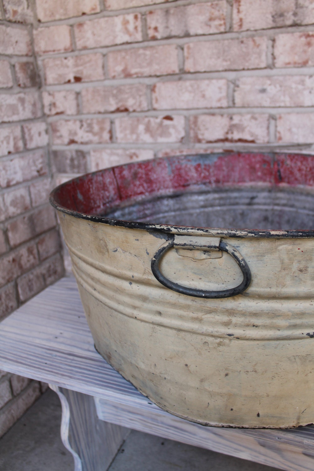 Unavailable listing on etsy for Large metal wash tub