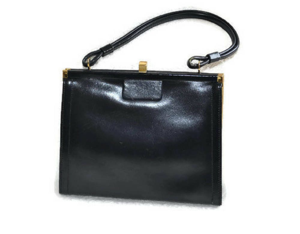 1930s Navy Blue Leather Handbag  Vintage Leather Art Deco Bag  Blue Bag