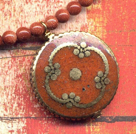 Nepalese Brown Agate Mandala Pendant, Goldstone Beads Necklace, Statement Jewelry, Ethnic Pendants, Handmade Nepal Jewelry - Annaart72