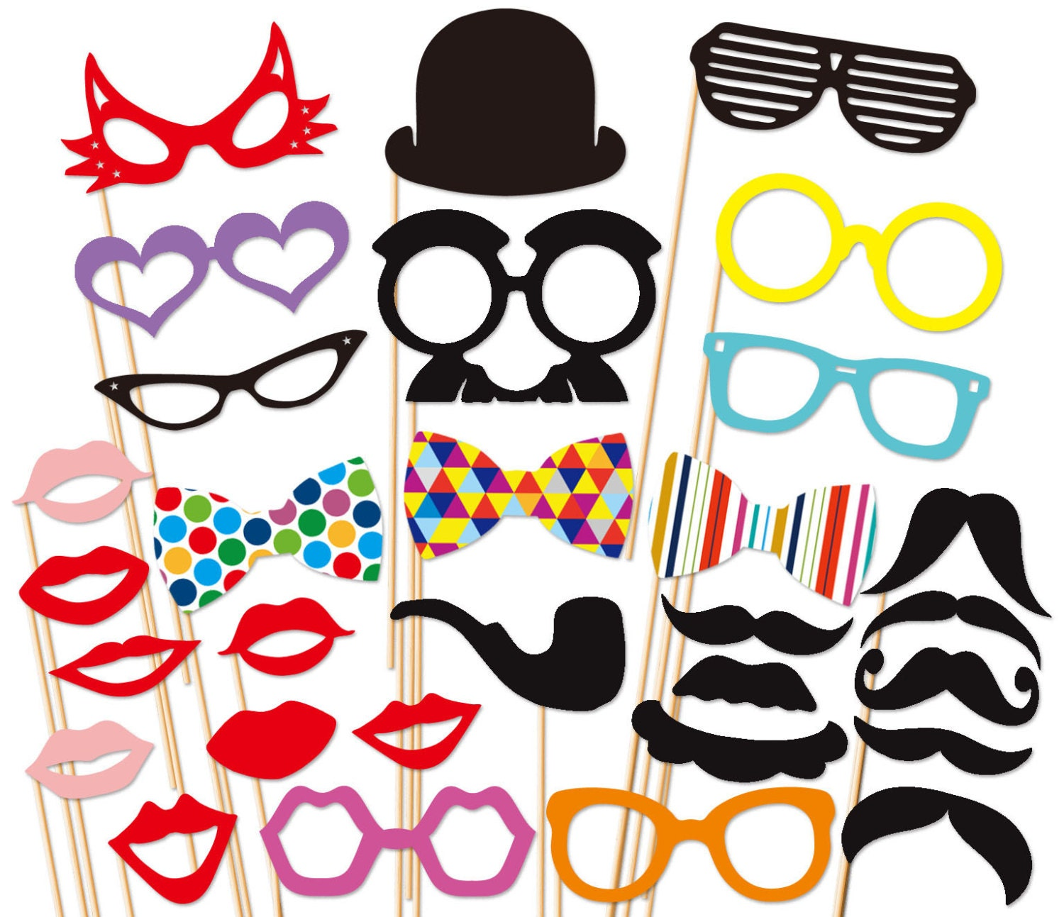 Photobooth Props Photo Booth Props 30 Piece Set by PartyGoodies