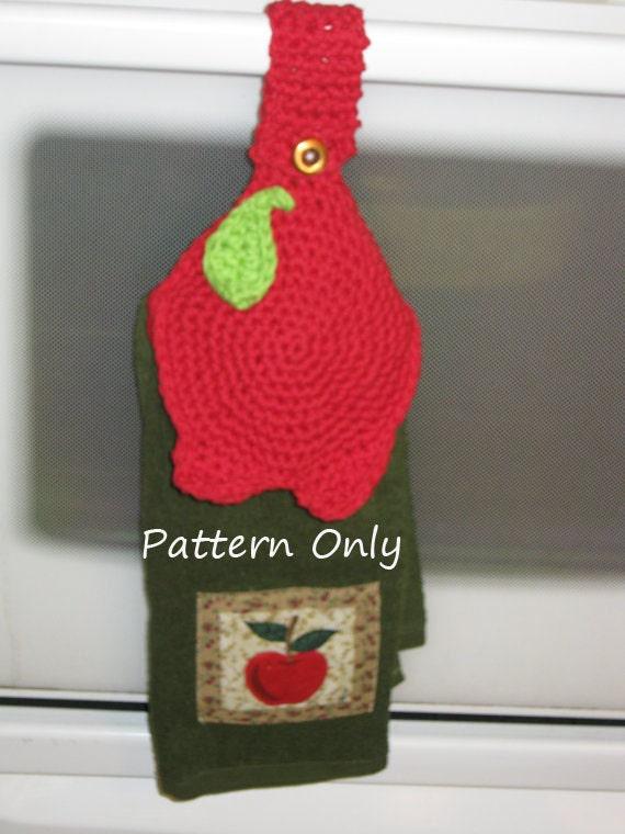 Crochet towel topper apple shape pattern pdf file by 2crochethooks