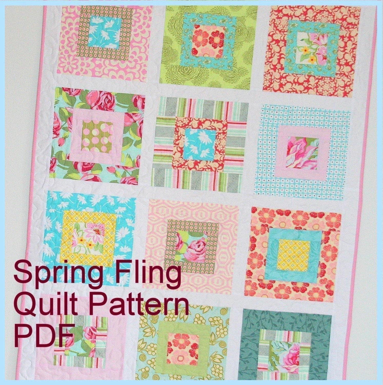 Modern Nursery Quilt Patterns : Spring Fling Modern Baby Quilt Pattern Tutorial by cluckclucksew