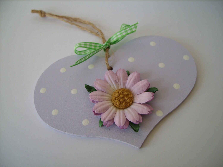 Lilac Polka Dot Heart Hanging - AuntyJoanCrafts