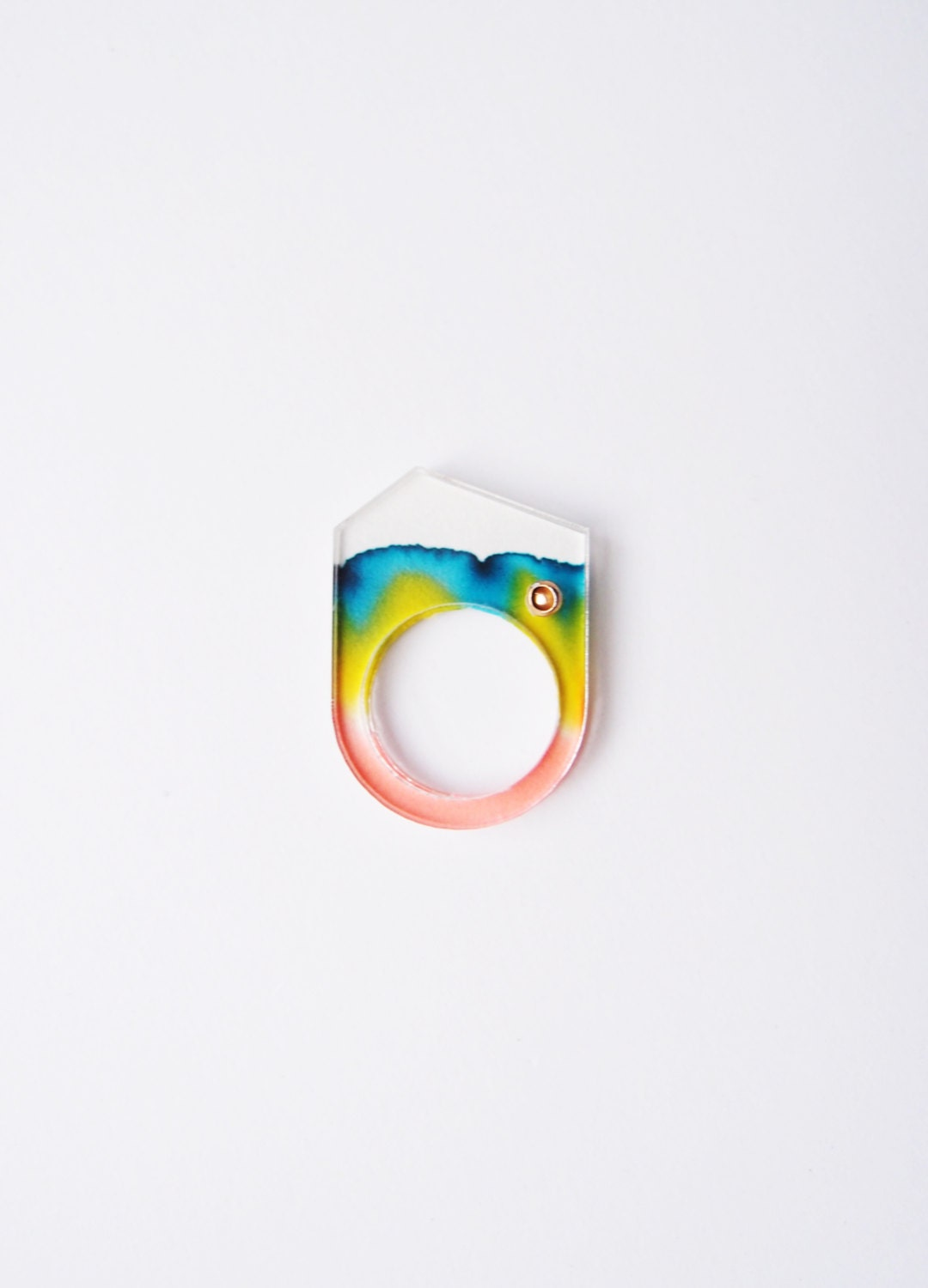 ombre chromatography mountain peak ring . iridescent red blue yellow . acrylic cover - TheLittleChilli