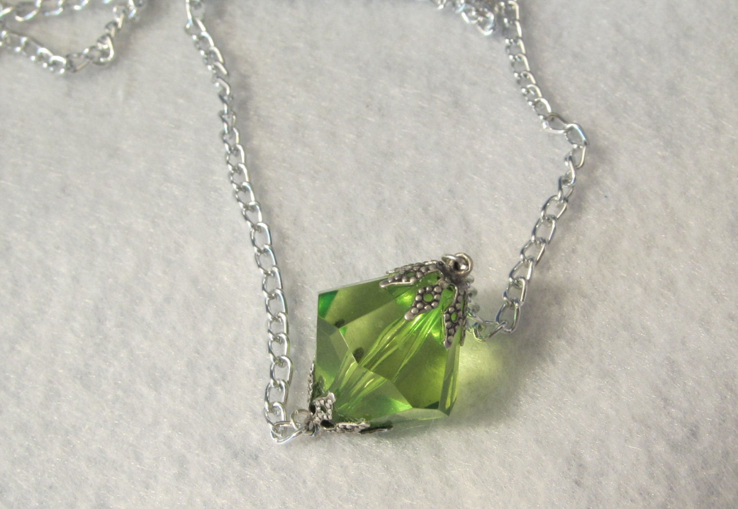 large green or light green kryptonite necklace by