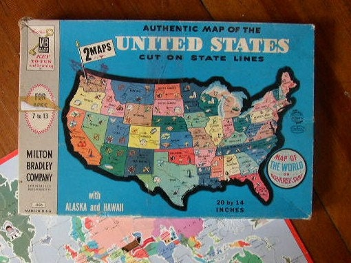 SALE Vintage Double Sided United States Map Puzzle Milton ...