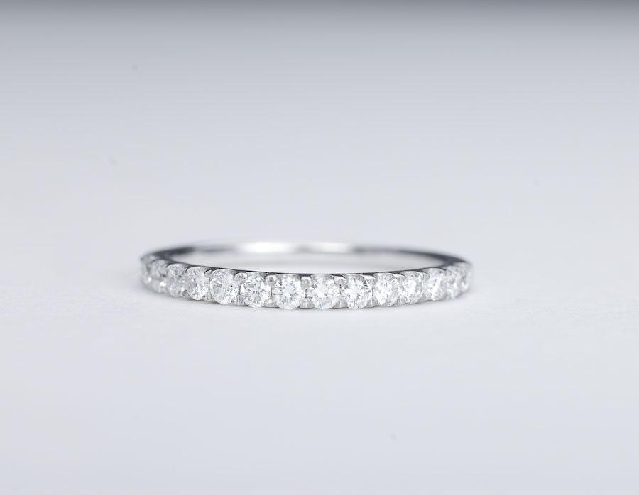 Diamond Wedding Band 14K White Gold 2mm Sale By SundariGems
