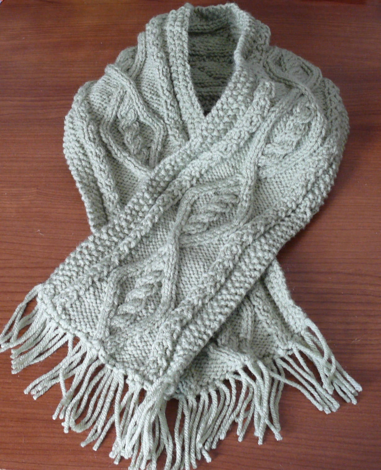 Aran Childrens Knitting Patterns : Items similar to Hand knitted Aran pattern childrens scarf - sage green ...