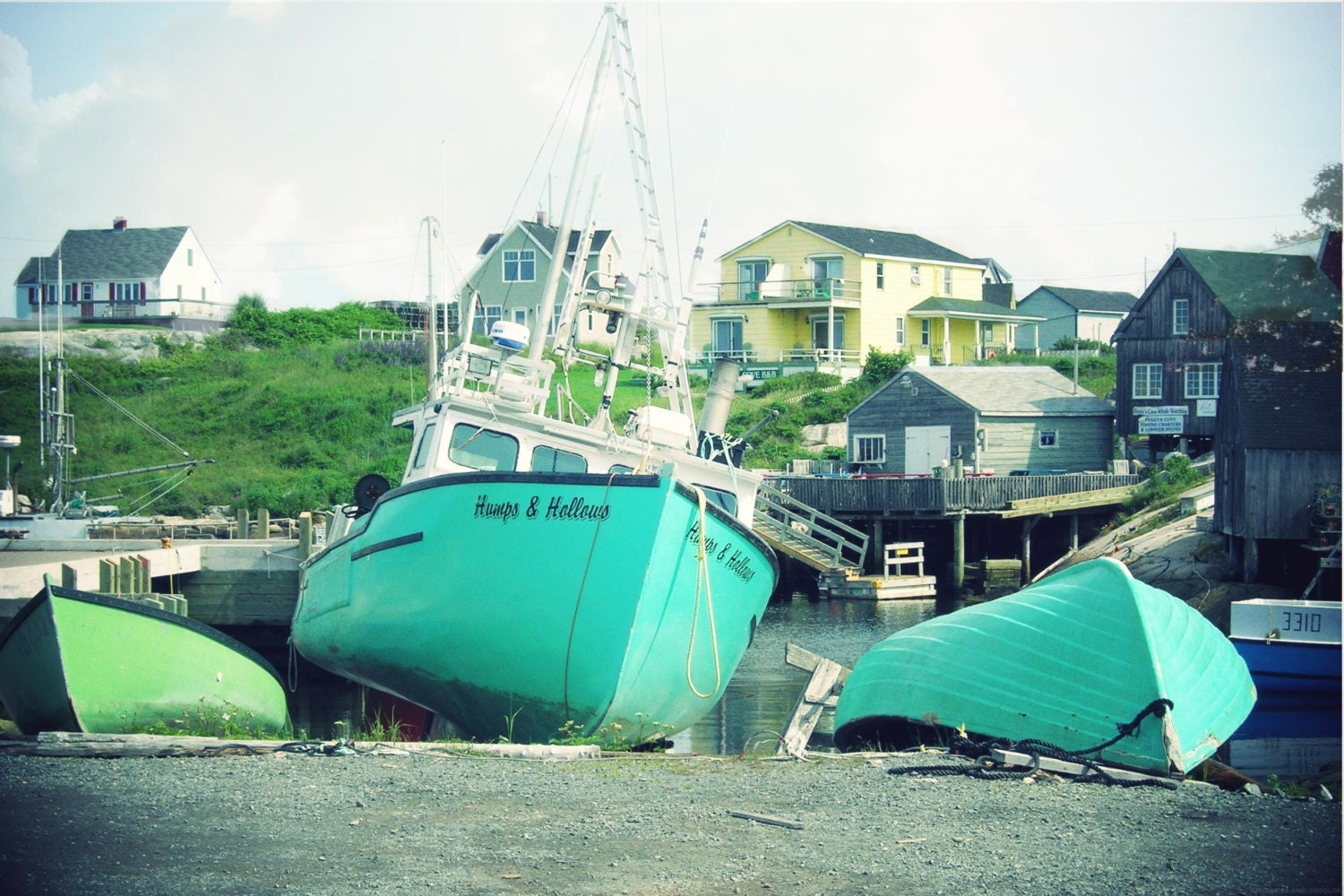 Photo Print - Turquoise Seaside Boats and Yellow Buildings - CapeCodPhoto