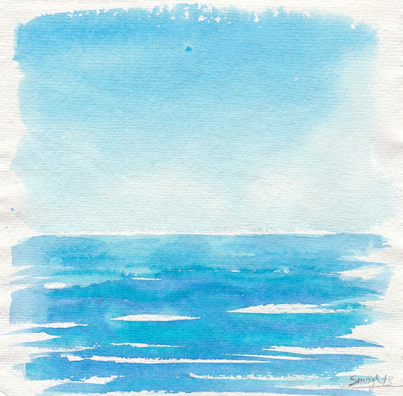 Original Square Illustration The Blue Sea and The Blue Sky - Smogartist