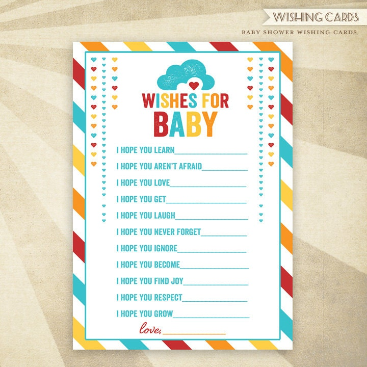 instant download retro rainbow baby shower printable wishing cards