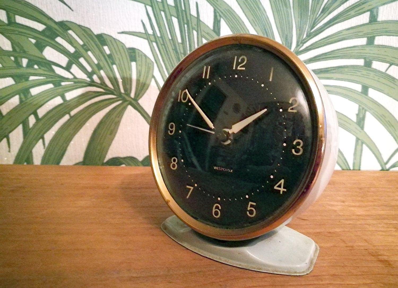 Mid century Westclox bedside alarm clock Mid century modern table clock Vintage clock Westclox vintage alarm clock 60s  wind up clock
