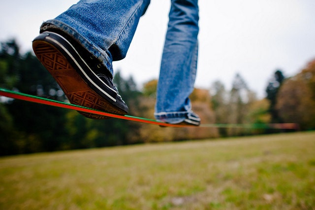 Slackline Kit  - 35 ft of 1 inch webbing, for the kids and adults - IfWoodCould