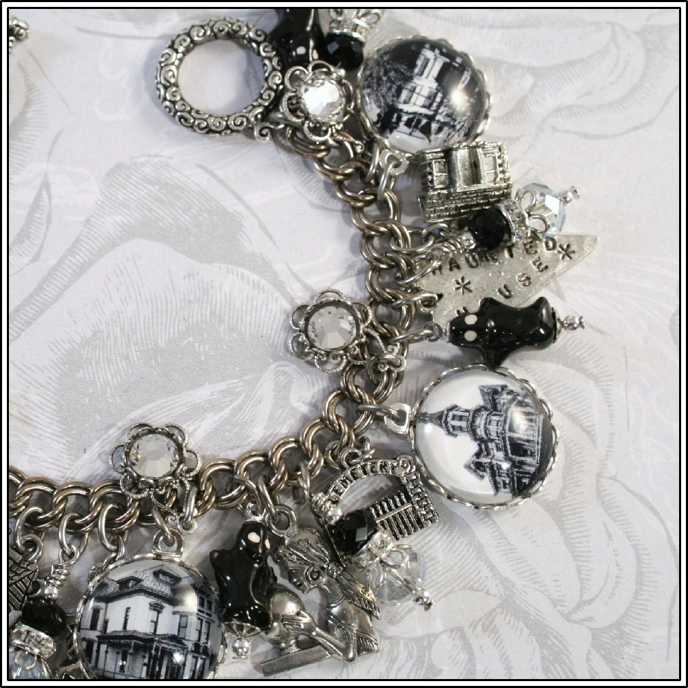 The Haunted House, Halloween, Vintage Inspired Charm Bracelet