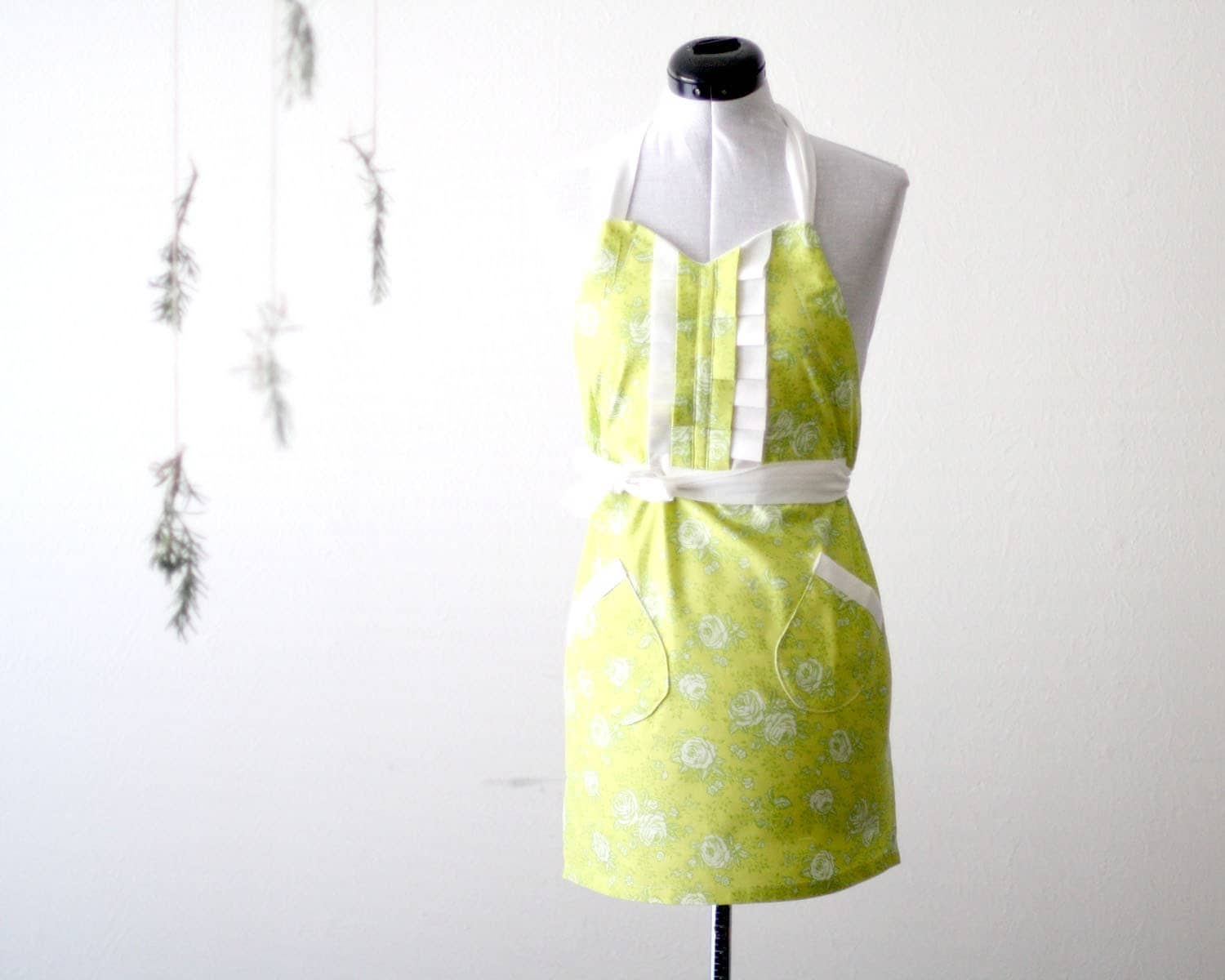 Green Rose Apron - floral bright light chartreuse green, white cotton adjustable hostess apron with ruffle, pockets