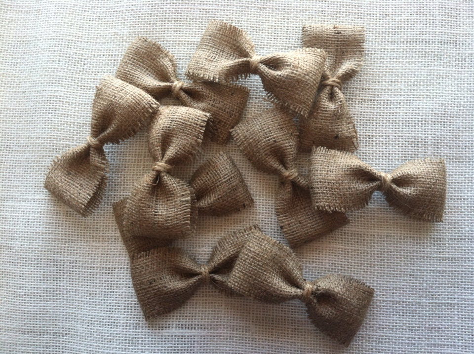 Ten Four Inch Frayed Edge Natural Burlap Bows, set of 10, wedding decor, DIY craft